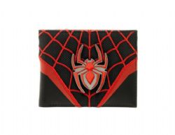 SPIDER-MAN -  LAYERED MATERIALS BIFOLD MILES MORALES WALLET - RED/BLACK