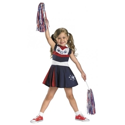 SPORT -  CHEERLEADER COSTUME - BLUE AND RED GLITTER (CHILD)