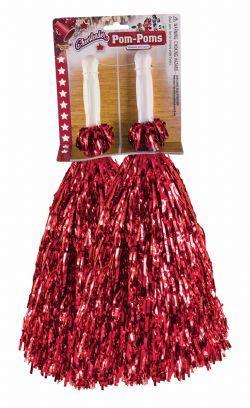 SPORT -  TINSEL CHEERLEADER POMPOMS - RED