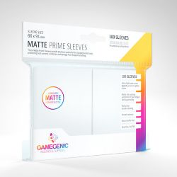 STANDARD CARD GAME -  WHITE - MATTE PRIME SLEEVES (66MM X 91MM) (100) -  GAMEGENIC