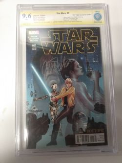 STAR WARS -  HOT TOPIC EXCLUSIVE VARIANT EDITION #1 SIGNED BY CARRIE FISHER - CBCS 9.6