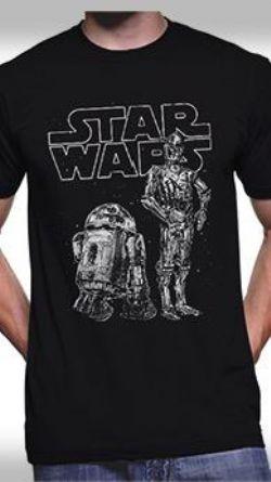 STAR WARS -  R2D2 & C3PO T-SHIRT - BLACK
