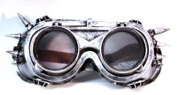 STEAMPUNK -  FLIP-UP GOGGLES - SILVER