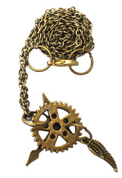 STEAMPUNK -  GEAR WITH CLOCK HANDS AND WING NECKLACE