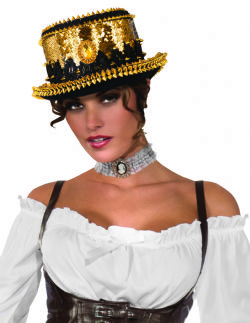 STEAMPUNK -  GOLD SEQUIN SPIKED TOP HAT