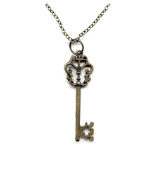 STEAMPUNK -  KEY NECKLACE - CROSS-SHAPED HOLE BIT