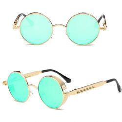 STEAMPUNK -  STEAMPUNK GLASSES - GOLDEN WITH GREEN LENS