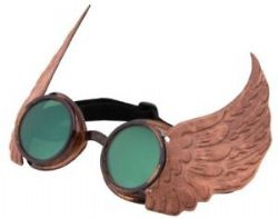 STEAMPUNK -  WINGED GOGGLES - GOLD -  STEAMWORKS