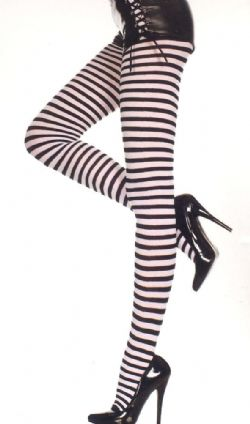 STRIPED -  BLACK AND WHITE - ONE-SIZE -  PANTYHOSE