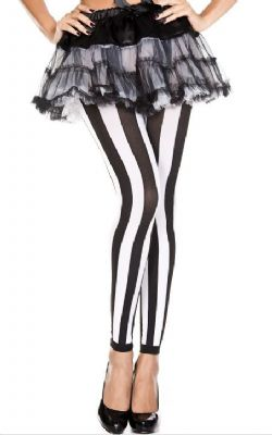 STRIPED -  VERTICAL - BLACK AND WHITE - ONE-SIZE -  LEGGING