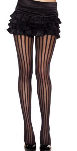 STRIPED -  VERTICAL - BLACK - ONE SIZE -  PANTYHOSE