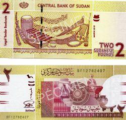 SUDAN -  2 POUNDS 2015 (UNC)