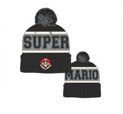 SUPER MARIO -  CUFF POM BEANIE - BLACK -  NINTENDO