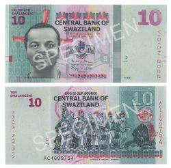 SWAZILAND -  10 EMALANGENI 2015 (UNC)