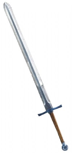 SWORDS -  KNIGHT'S SWORD / LACQUERED WOOD HANDLE / MEDALLION POMMEL / NOTCHED / TARNISHED STEEL (44