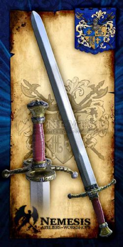 SWORDS -  ROYAL GUARD SWORD - WOODEN GRIP WITH LEATHER - ANTIQUE BRONZE (43