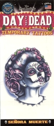 TATTOOS -  DAY OF THE DEAD TEMPORARY TATTOO - SENORA MUERTE (5 INCH)