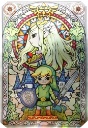THE LEGEND OF ZELDA -  STAINED GLASS METALLIC CANVAS (24 X 36)