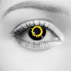 THEATRICAL CONTACT LENSES -  BLACK WOLF - BLACK AND YELLOW (90 DAYS) 09.527