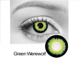 THEATRICAL CONTACT LENSES -  GREEN WEREWOLF - GREEN AND BLACK (90 DAYS) 09.038