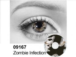 THEATRICAL CONTACT LENSES -  ZOMBIE INFECTION - WHITE AND BLACK (90 DAYS) 09.167