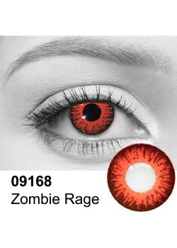 THEATRICAL CONTACT LENSES -  ZOMBIE RAGE - RED (90 DAYS) 09.168