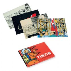 TINTIN -  MOON THEMED POSTCARDS BOOK