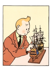 TINTIN -  TINTIN BOAT - GREETING CARD
