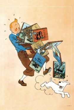 TINTIN -  TINTIN CARRYING BOOKS POSTER