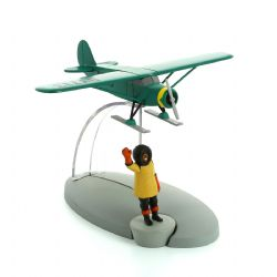 TINTIN -  USED FIGURINE - THE AIRPLANE ON SKIS IN DESTINATION NEW YORK WITH FIGURE AND BOOKLET -  PLANE 49