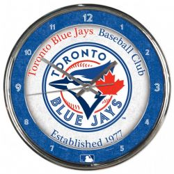 TORONTO BLUE JAYS -  CHROME WALL CLOCK (12