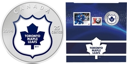 TORONTO MAPLE LEAFS -  TORONTO MAPLE LEAFS LOGO - STAMPS AND COIN SET -  2014 CANADIAN COINS