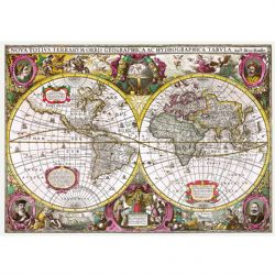 TREFL -  A NEW LAND AND WATER MAP OF THE ENTIRE EARTH, 1630, HENRICUS HONDIUS (2000 PIECES)
