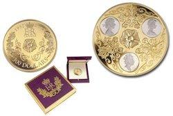 TRIPLE CAMEO PORTRAITS OF QUEEN ELIZABETH II -  2002 CANADIAN COINS