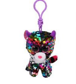 TY FLIPPABLES -  DOTTY THE LEOPARD SEQUIN KEYCHAIN (4.5