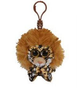 TY FLIPPABLES -  REGAL THE LION SEQUIN KEYCHAIN (4.5