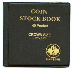 UNI-SAFE -  BLACK 40-POCKET COIN STOCK BOOK (CROWN SIZE)