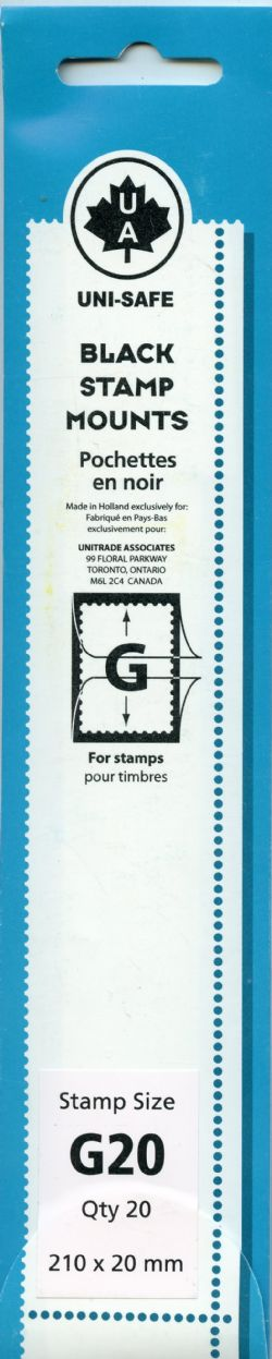 UNI-SAFE -  BLACK STAMP MOUNTS G20 (PACK OF 20)