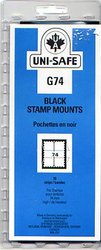 UNI-SAFE -  BLACK STAMP MOUNTS G74 (PACK OF 10)