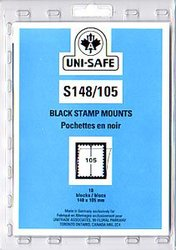 UNI-SAFE -  BLACK STAMP MOUNTS S148/105 (PACK OF 10)