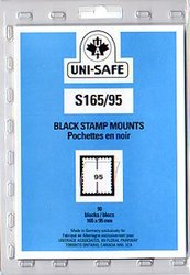 UNI-SAFE -  BLACK STAMP MOUNTS S165/95 (PACK OF 10)
