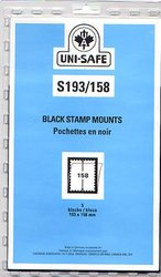 UNI-SAFE -  BLACK STAMP MOUNTS S193/158 (PACK OF 5)