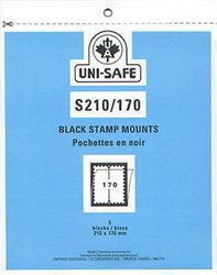 UNI-SAFE -  BLACK STAMP MOUNTS S210/170 (PACK OF 5)