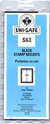 UNI-SAFE -  BLACK STAMP MOUNTS S63 (PACK OF 10)