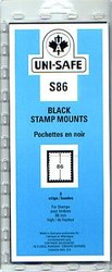 UNI-SAFE -  BLACK STAMP MOUNTS S86 (PACK OF 8)