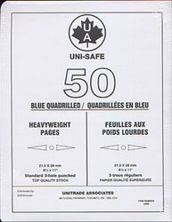 UNI-SAFE -  BLUE HEAVYWEIGHT QUADRILLED UNISAFE PAGES (PACK OF 50)