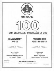 UNI-SAFE -  GREY HEAVYWEIGHT QUADRILLED UNISAFE PAGES (PACK OF 100)