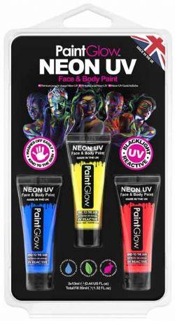 UV MAKE UP -  NEON UV FACE PAINT HANG PACK 2