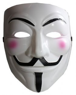 V FOR VENDETTA -  VENDETTA WHITE FACE MASK WITH PINK CHEEKS (ADULT)
