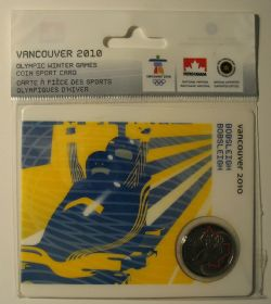 VANCOUVER 2010 -  2010 VANCOUVER OLYMPIC GAMES COIN CARD - BOBSLEIGH 2008 -  2007-2010 CANADIAN COINS 09